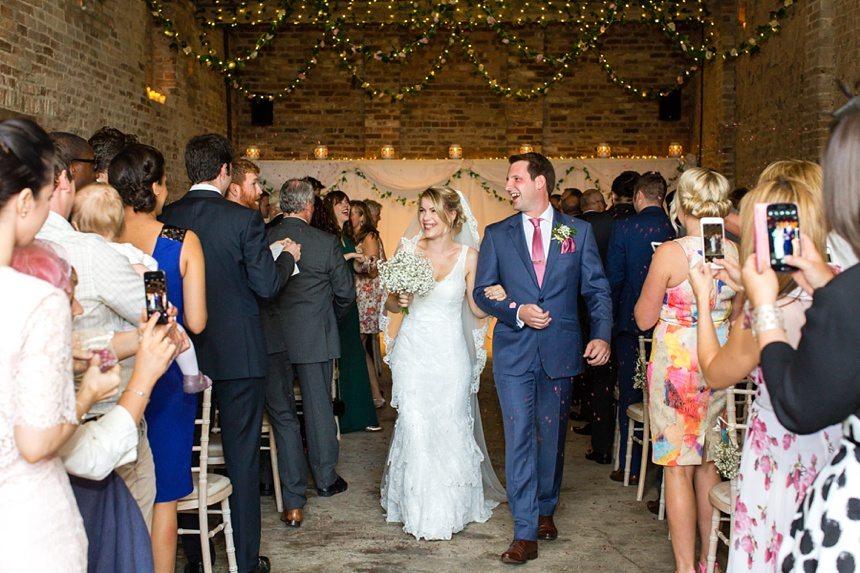 Exit ceremony Barmbyfield Barn Wedding