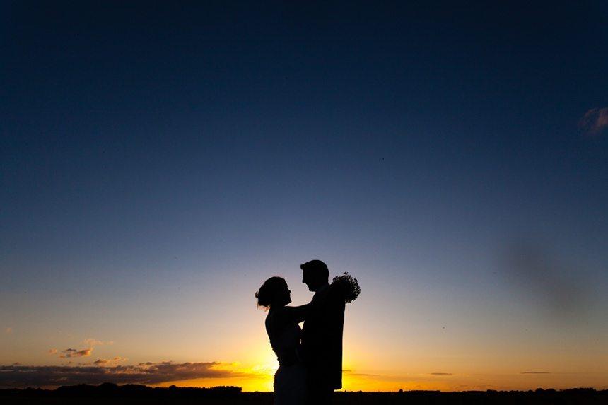 Bride & Groom portraits in barley field Barmbyfield Barn Wedding Photography sunset