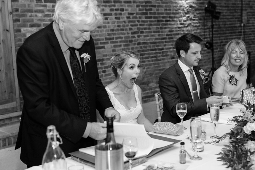 speech bride reacting to father Barmbyfield Barn Wedding Photography
