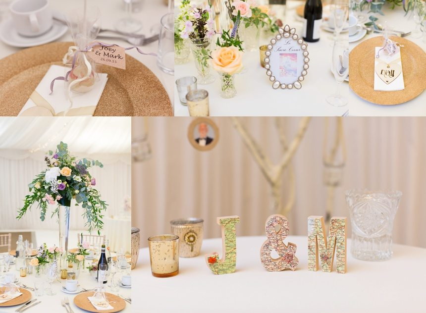 Gold and pink parisian wedding details