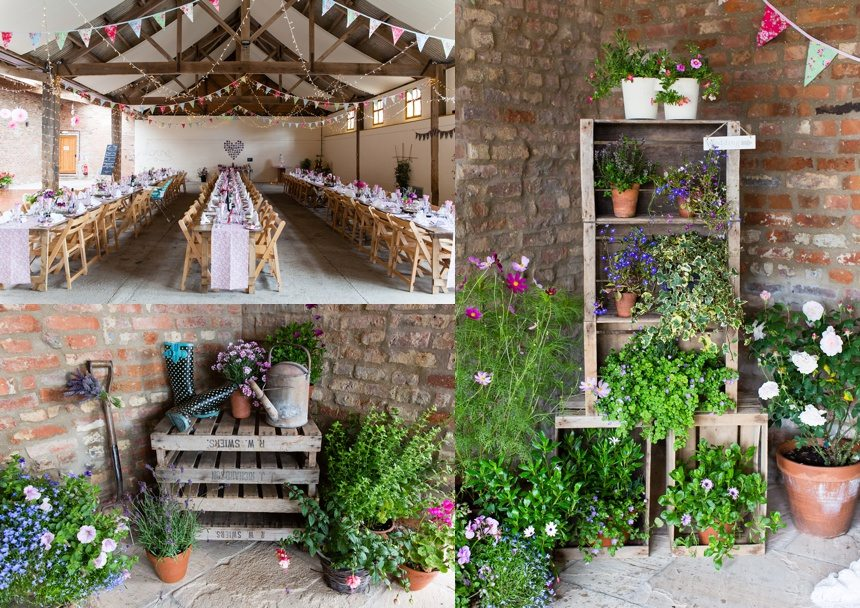Barmbyfield Barn Wedding flowery diecorations