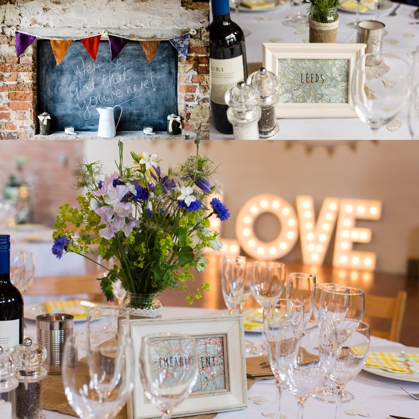 Barmbyfield Barn Wedding decorations