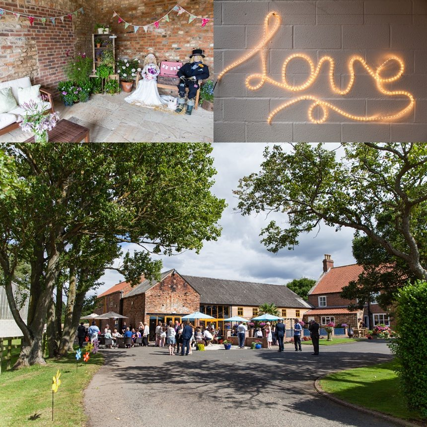Barmbyfield Barn wedding exterior and decorations