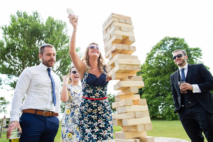 Barmbyfield Barn Wedding guests playing jenga