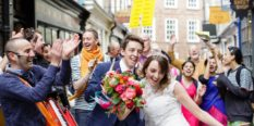 Documentary Wedding Photography Couple dancing with Hare Krishnas in York