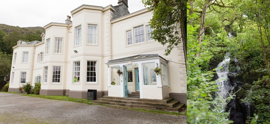 Weddings at Derwentwater Youth Hostel Exterior and waterfall