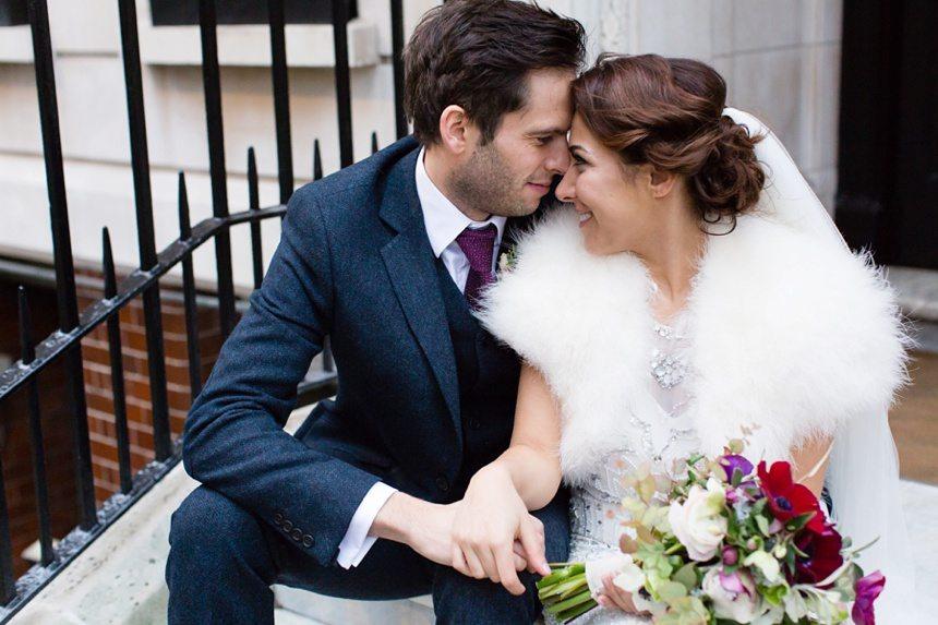 Winter Wedding Tips and Advice Bride & Groom Snuggle