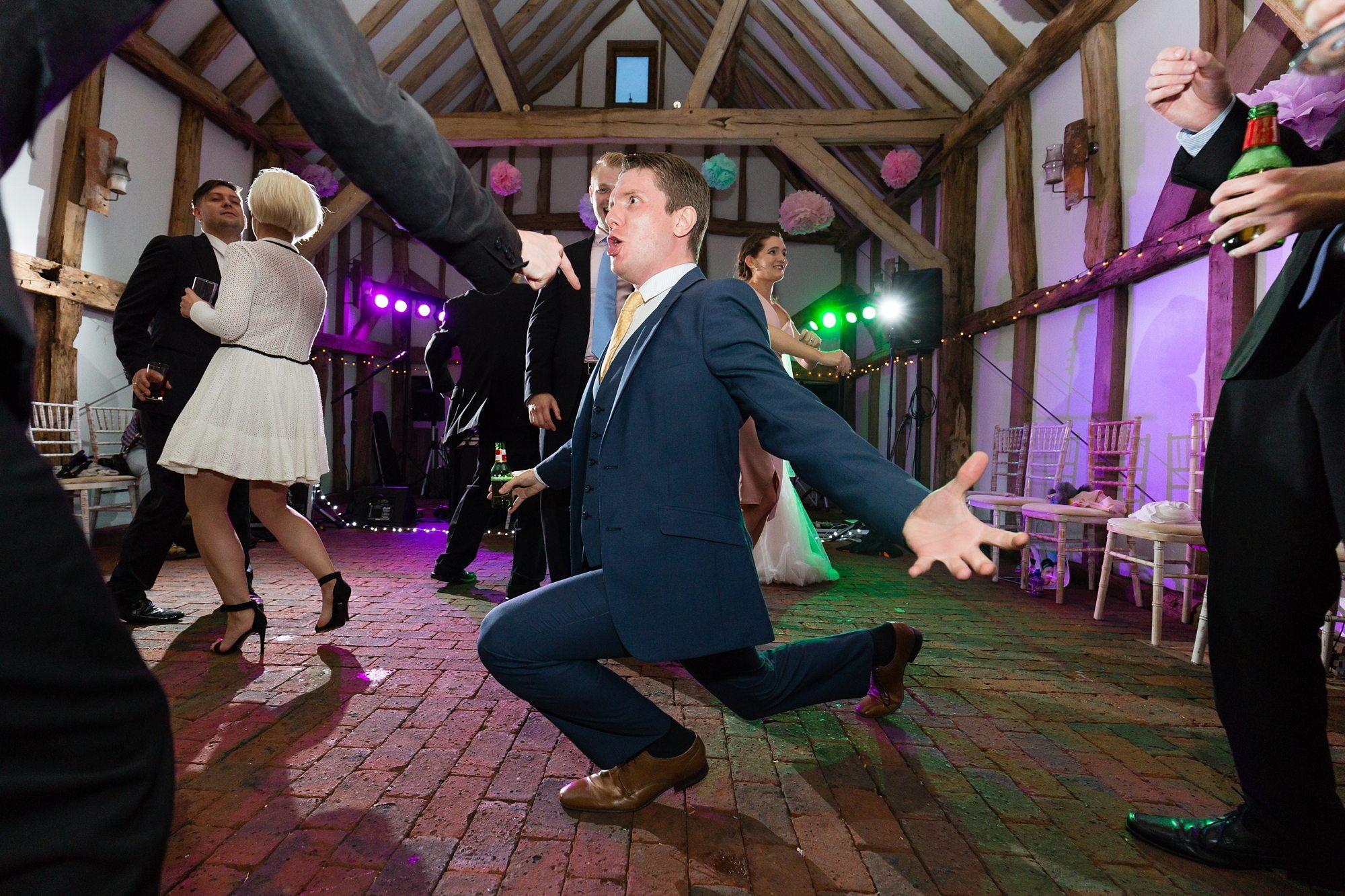 Fun Dancing Lunges Barn Wedding
