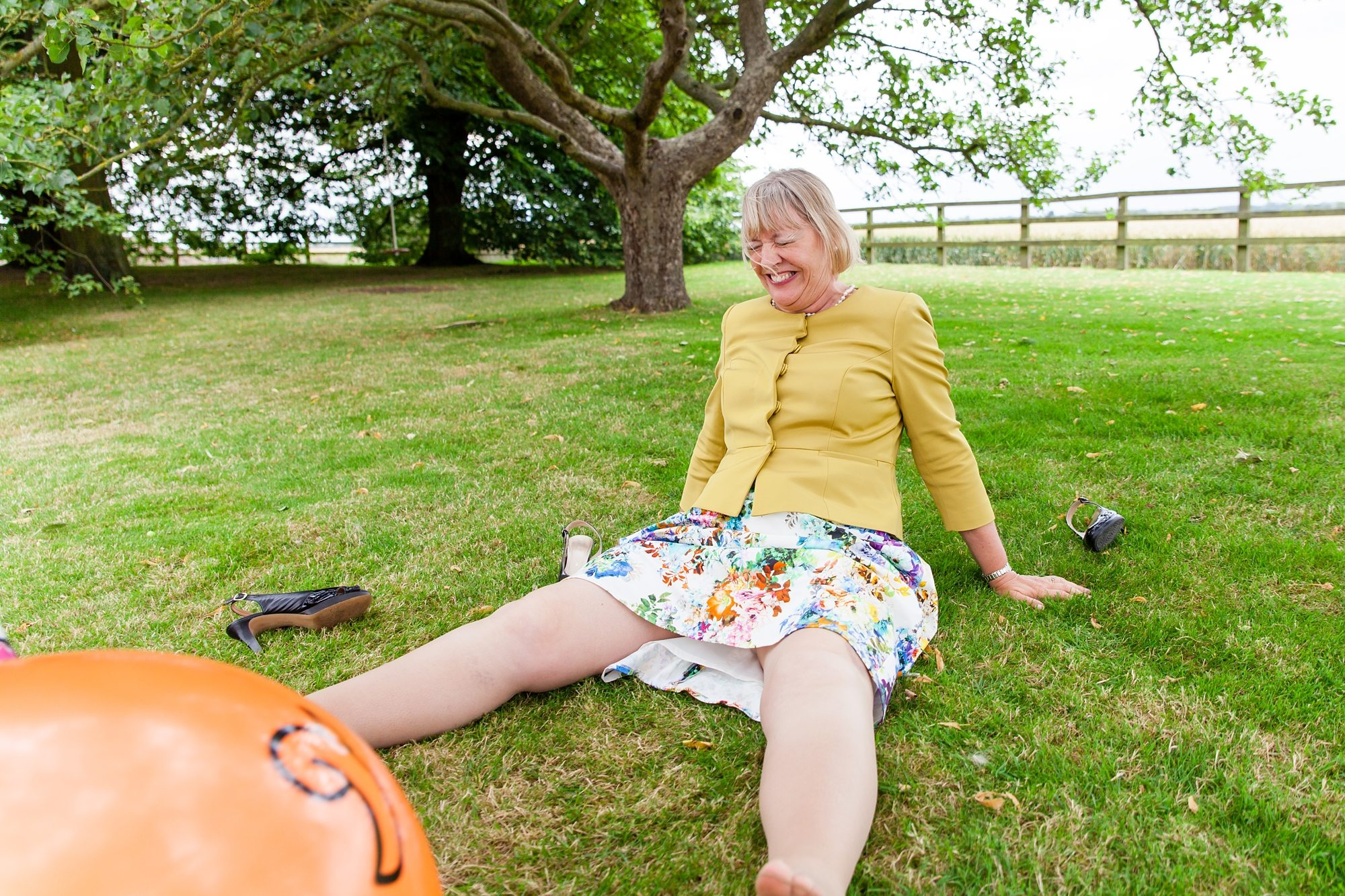 Wedding guest falling off spacehopper