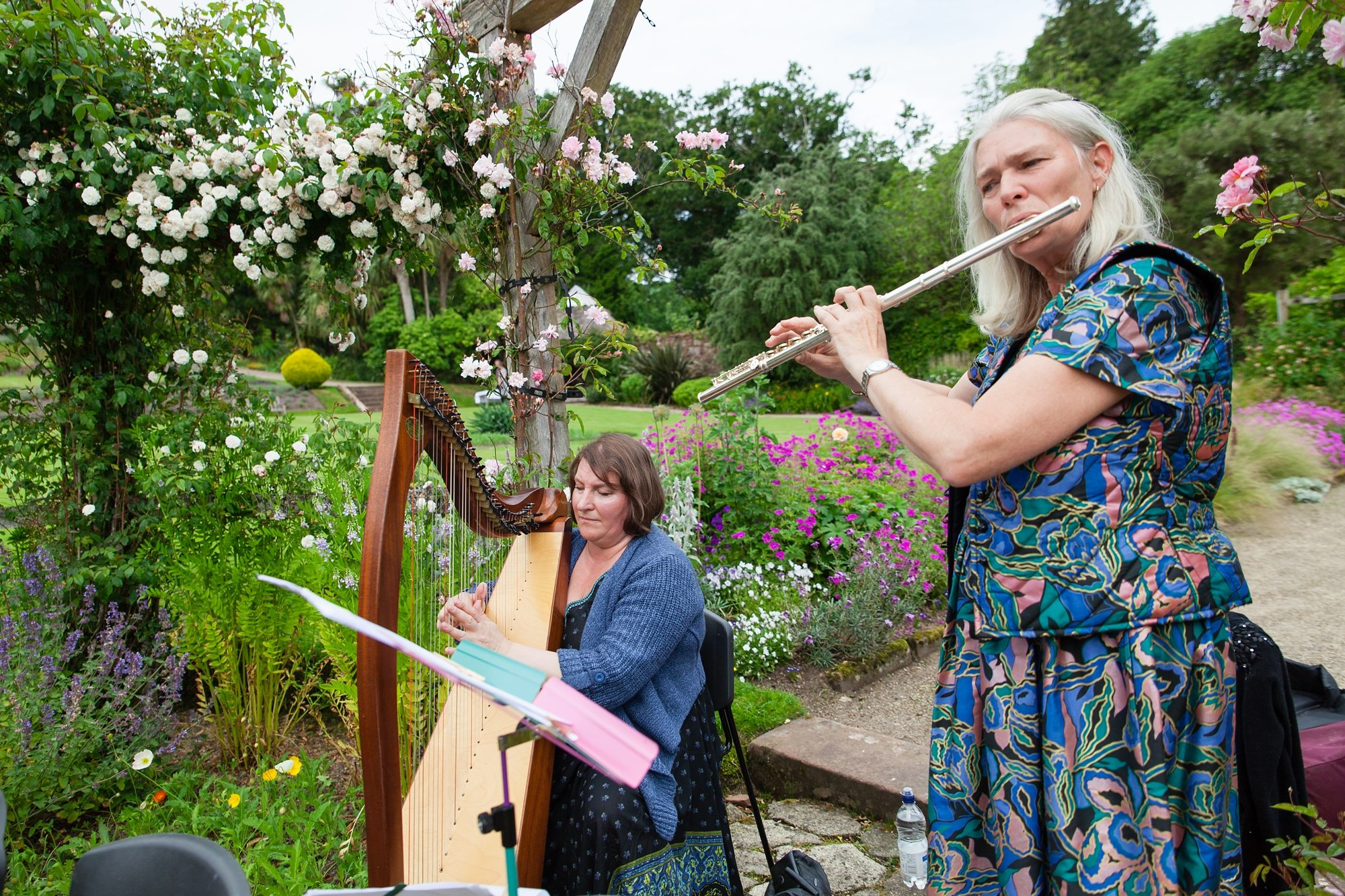 band playing harp and reed with flowers at York wedding