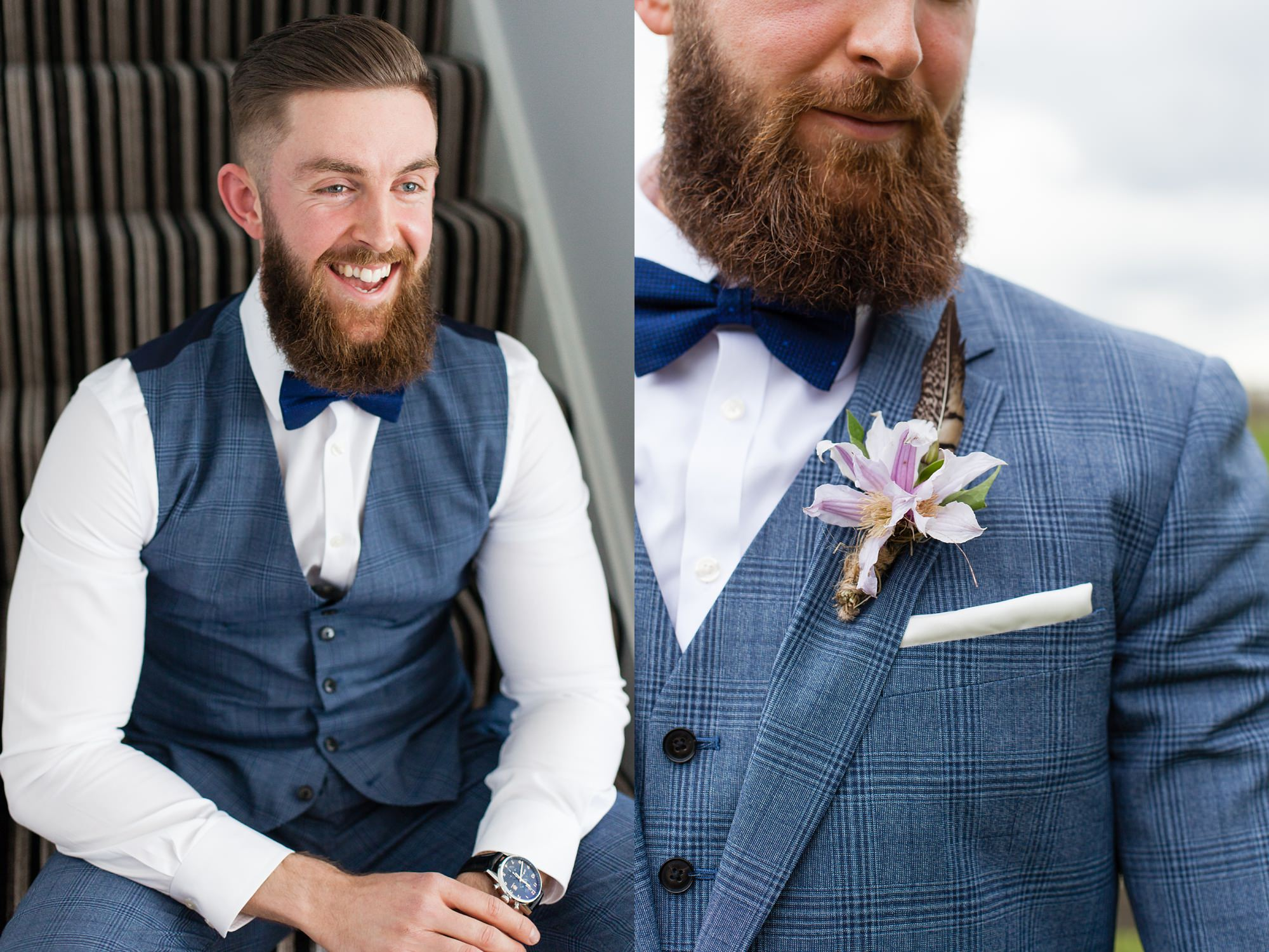 Portrait of hipster groom with beard, undercut hair style, prince of whales blue suit.
