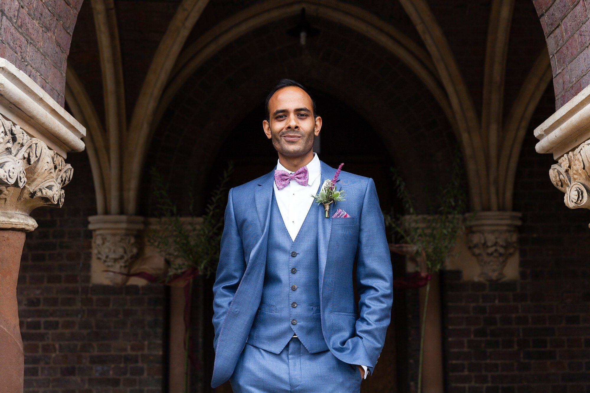 Portrait of Asian Groom at St Stephens in Hampstead Heath