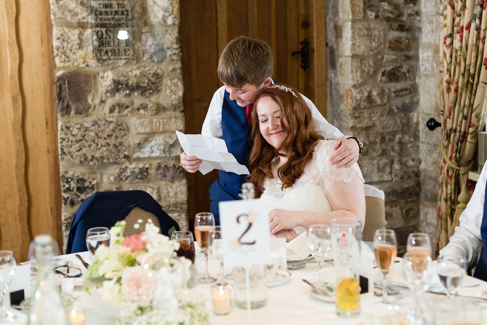Bride's son gives speech hugs mum Tips for children at weddings