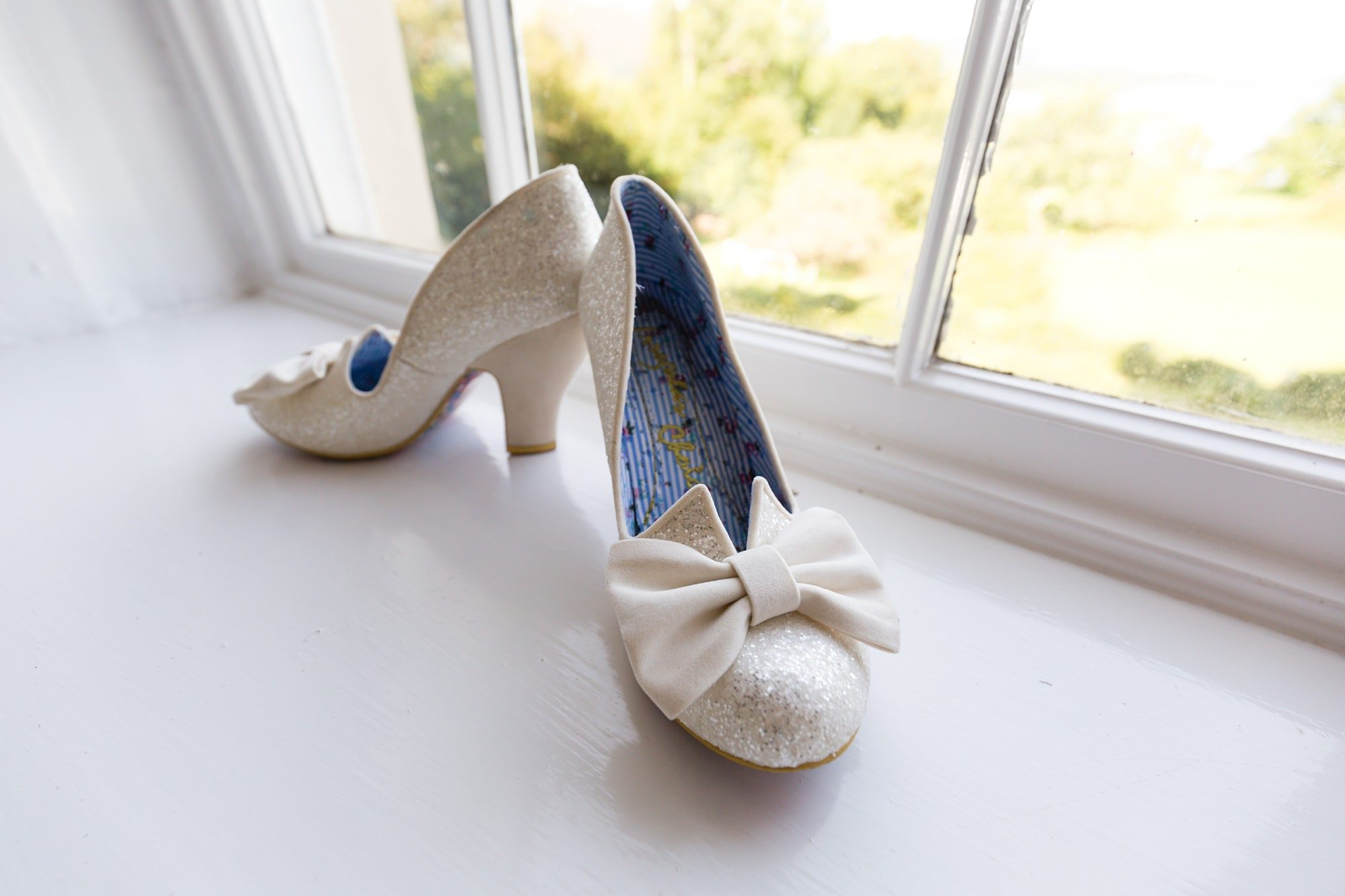 White irregular choice wedding shoes Derwentwater Independent Hostel Wedding