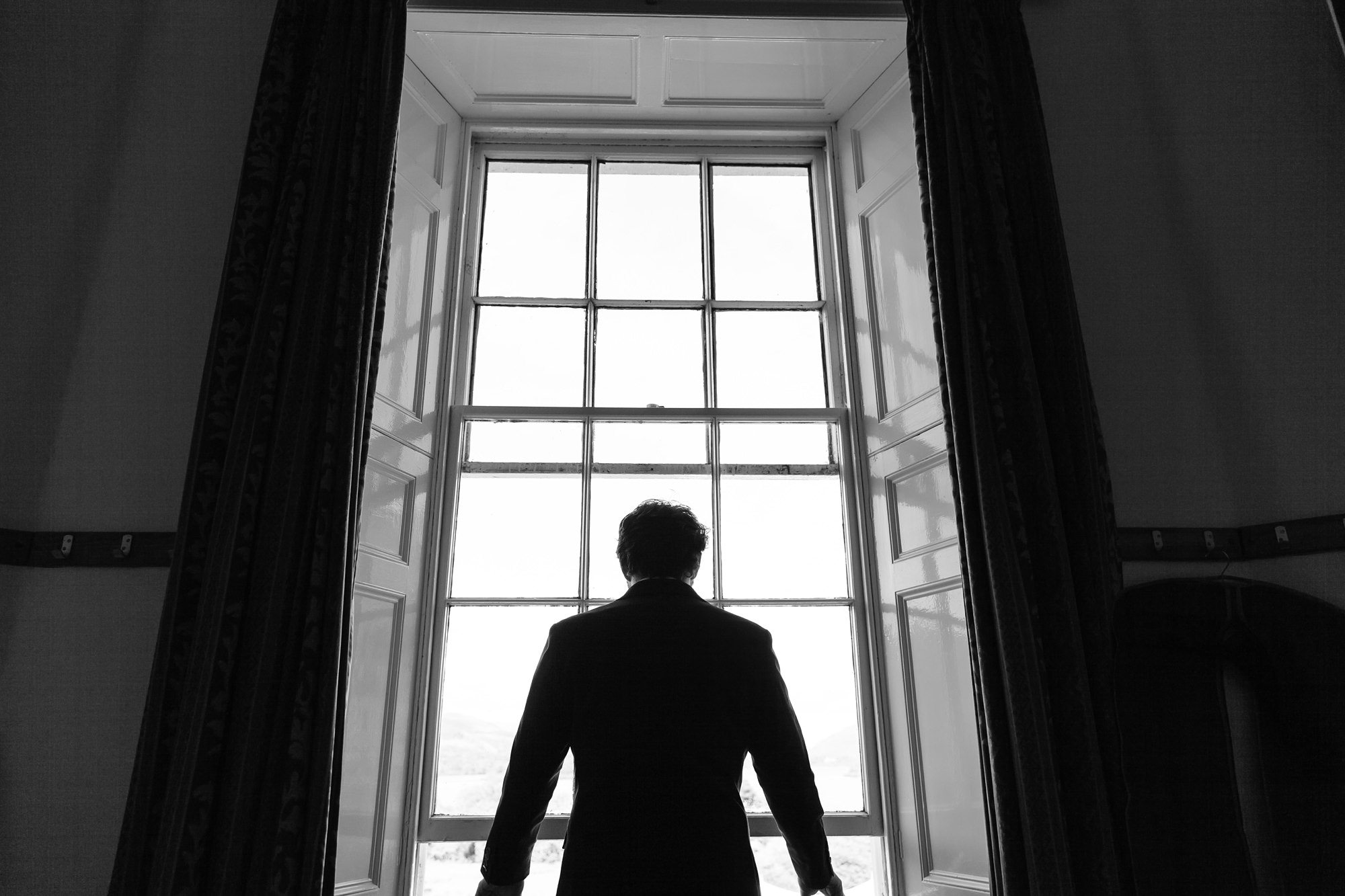 Silhouette of groom Derwentwater Independent Hostel Wedding