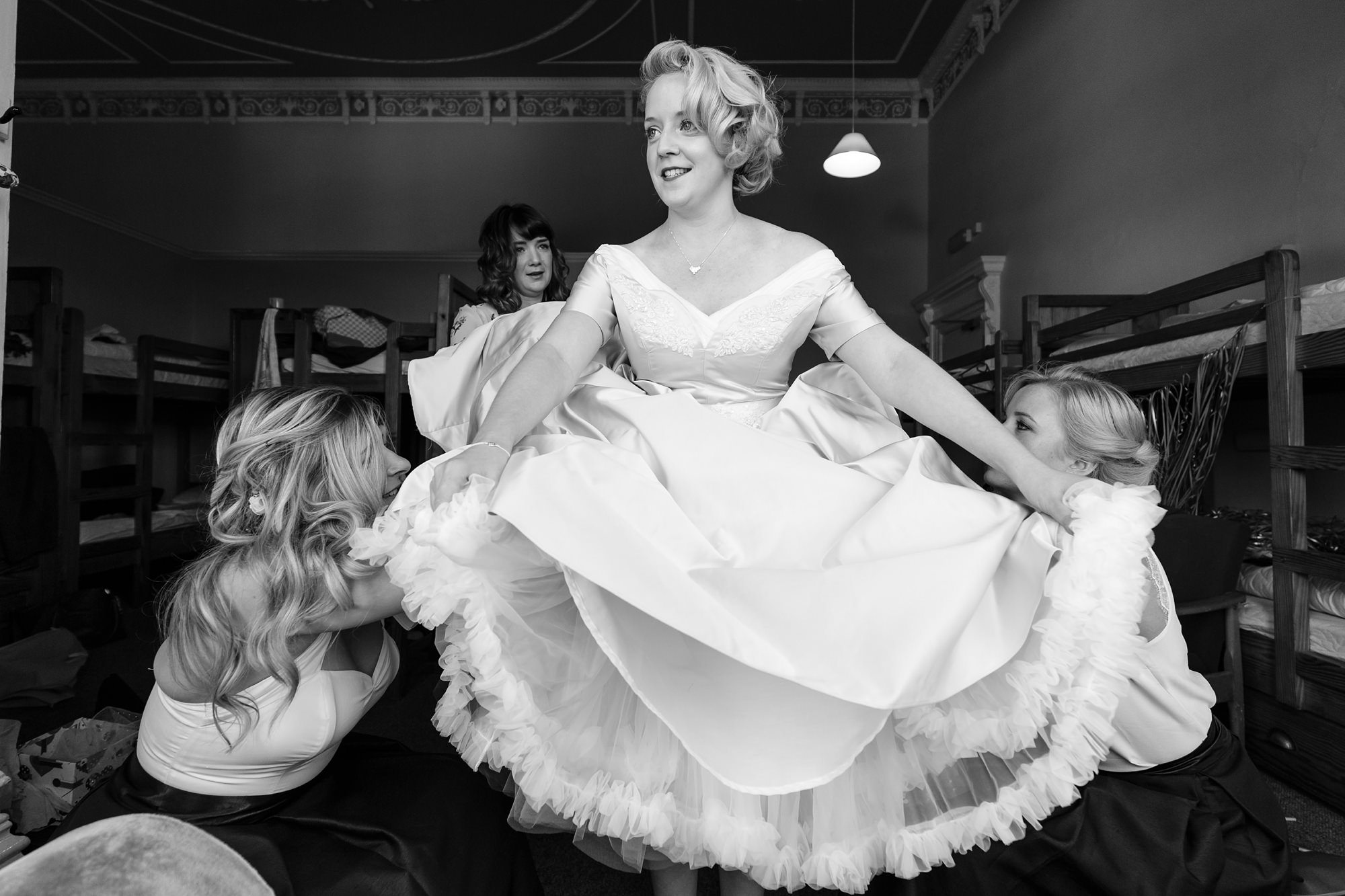 Bridesmaids fludd petticoat Derwentwater Independent Hostel Wedding