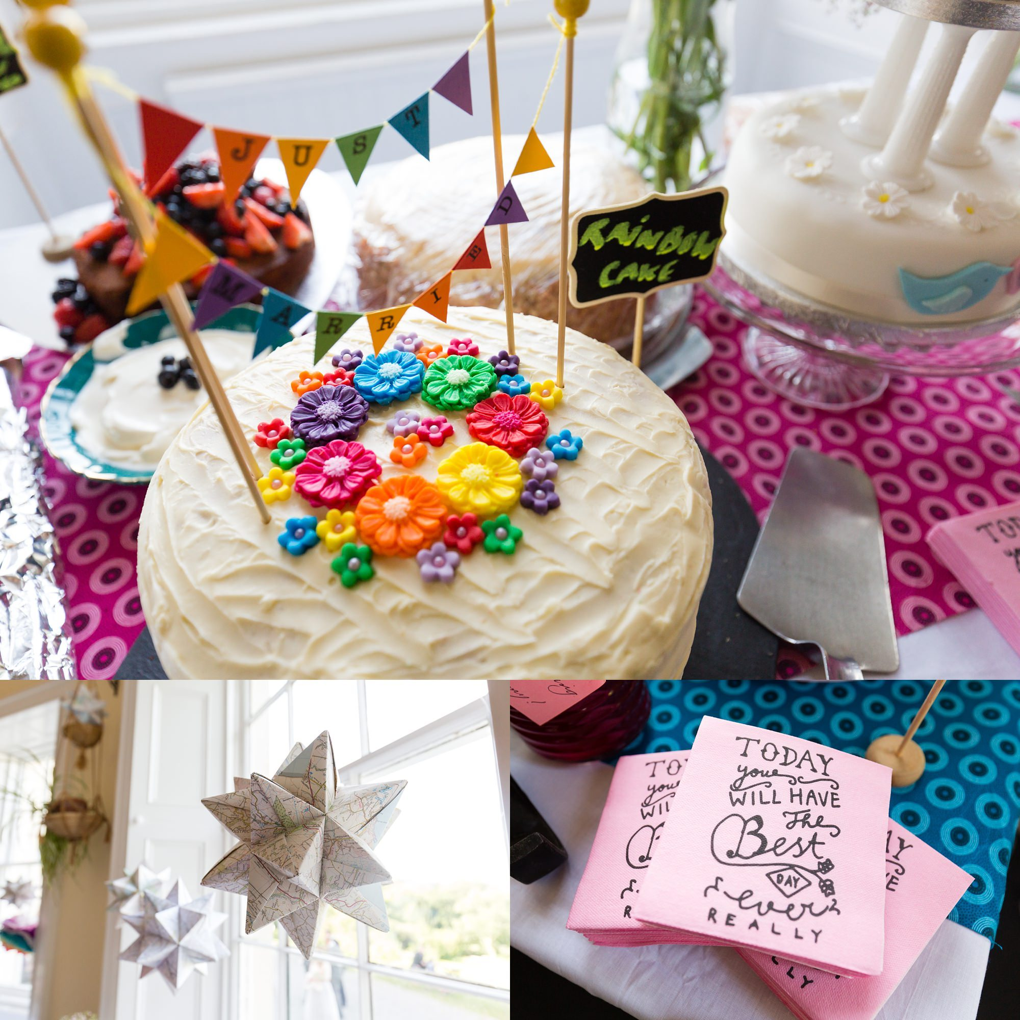 Bright coloured cake & wedding decorations Derwentwater Independent Hostel Wedding