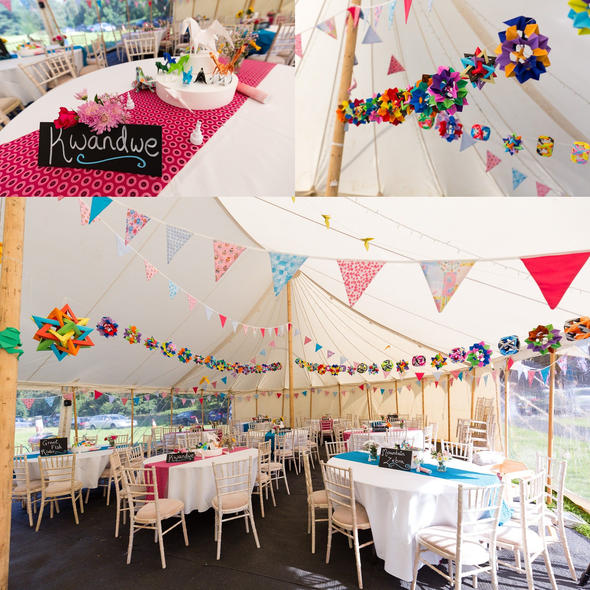 Rainbow coloured oragami wedding decorations Derwentwater Independent Hostel Wedding