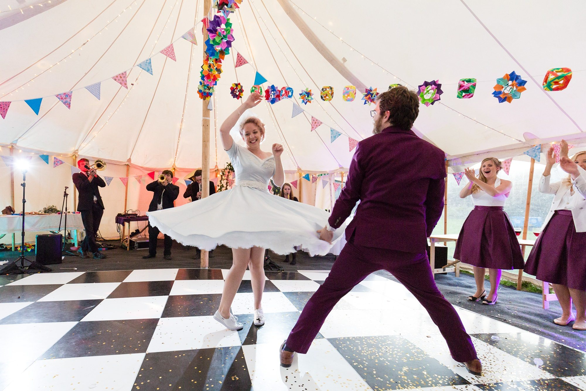 Twirling in first dance Derwentwater Independent Hostel Wedding