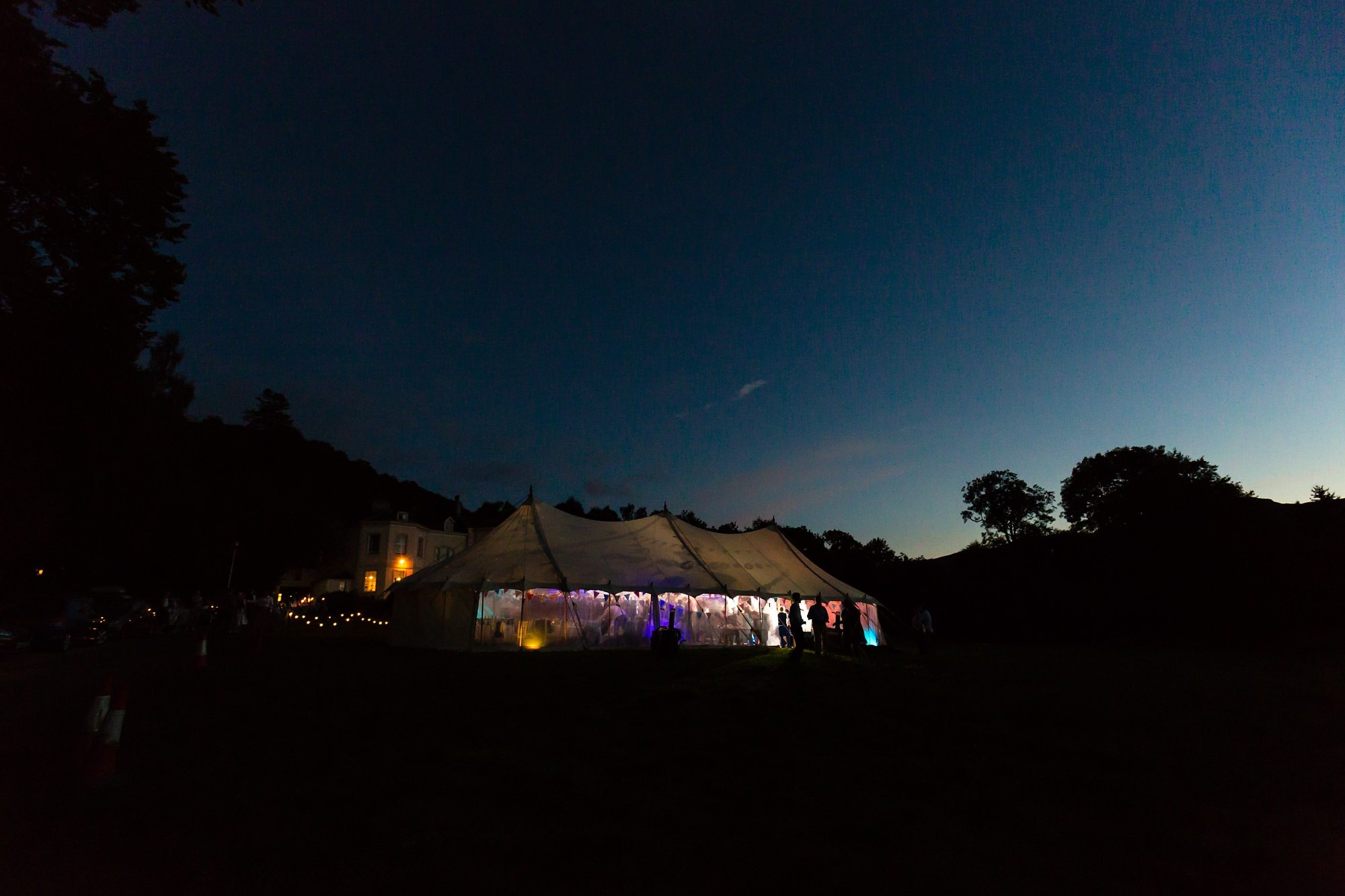 evening marquee party Derwentwater Independent Hostel Wedding