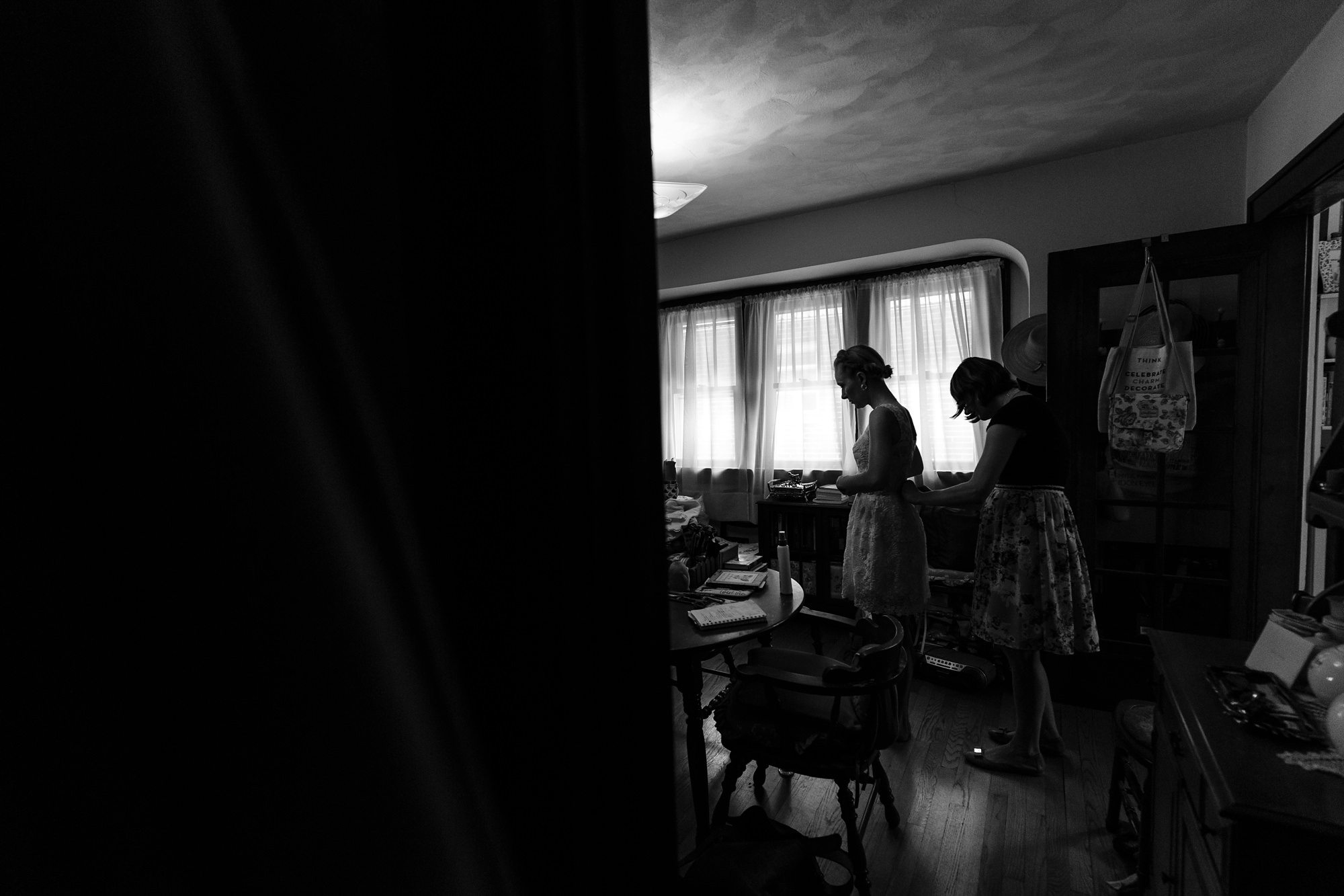 Silhouette of bride getting ready at Destination wedding in Ft. Wayne Indiana