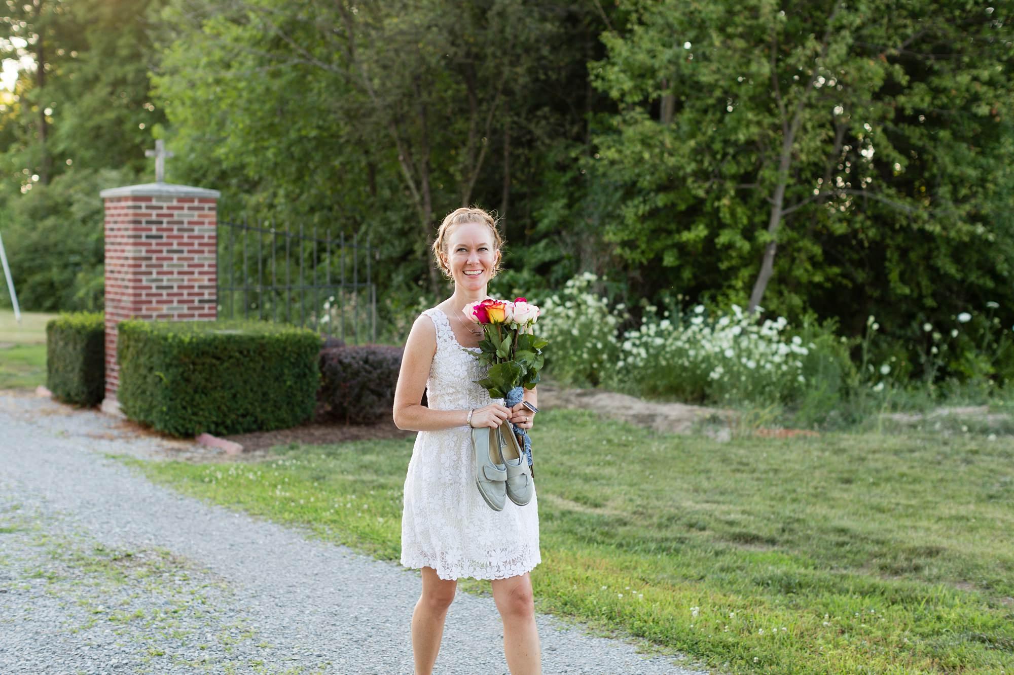Bride walks up aisle at intimate graveyard wedding
