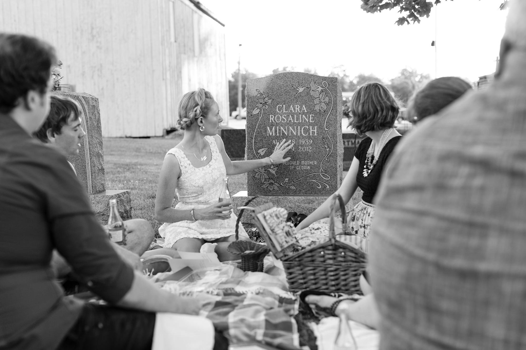 Wedding ceremony at graveyard in Ft. Wayne Indiana