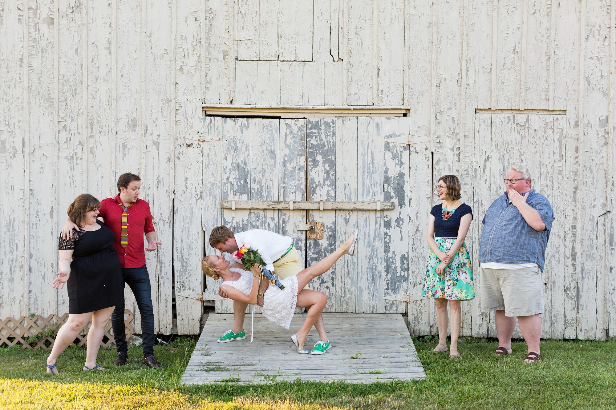 Wedding party photography with dip at Ft. Wayne Indiana destination wedding