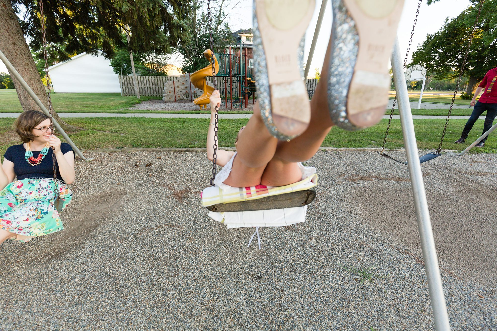 Bride on the swing during wedding