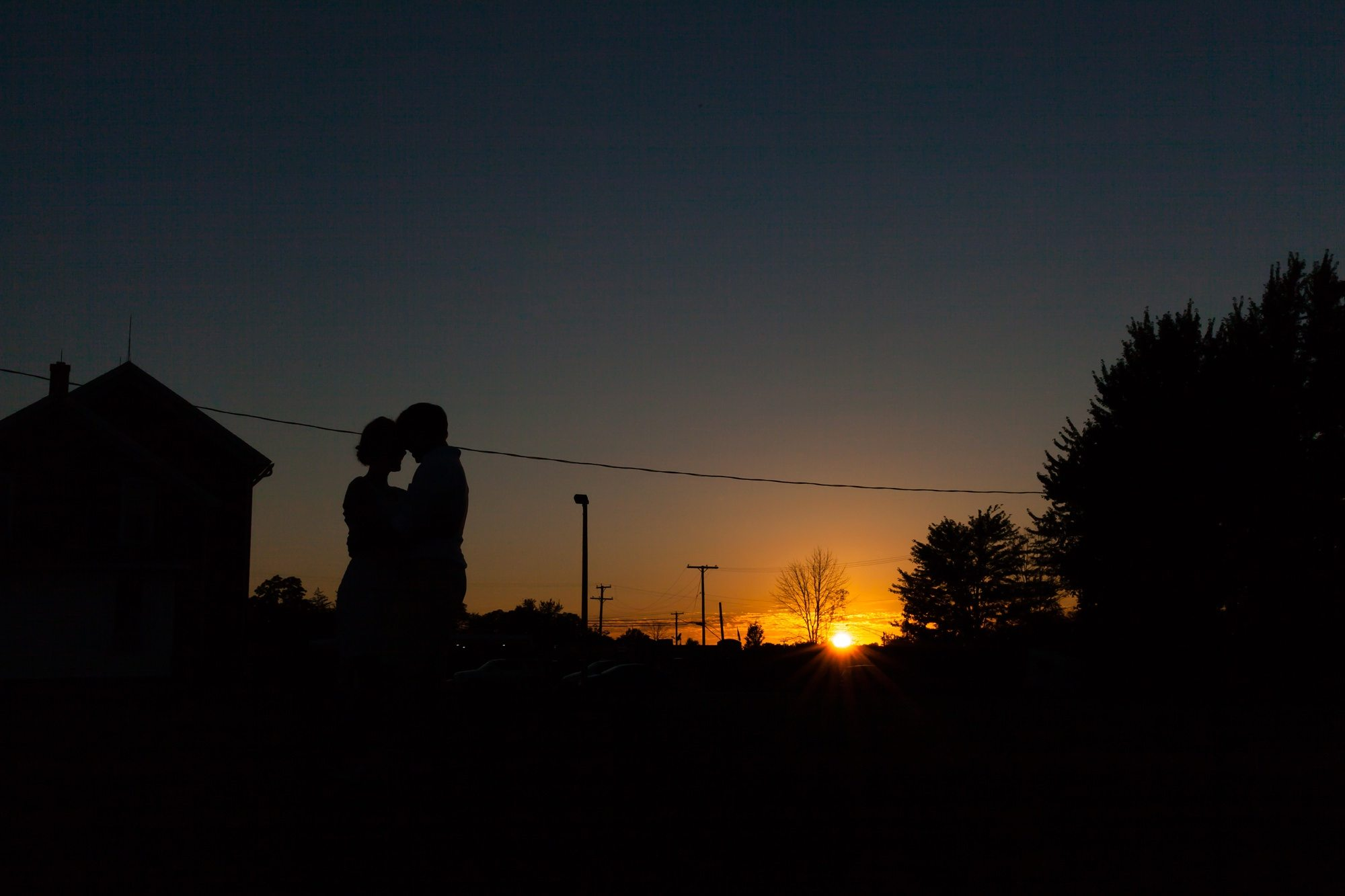 Silhouette in sunset at Desintaiton wedding in Fort Wayne Indiana
