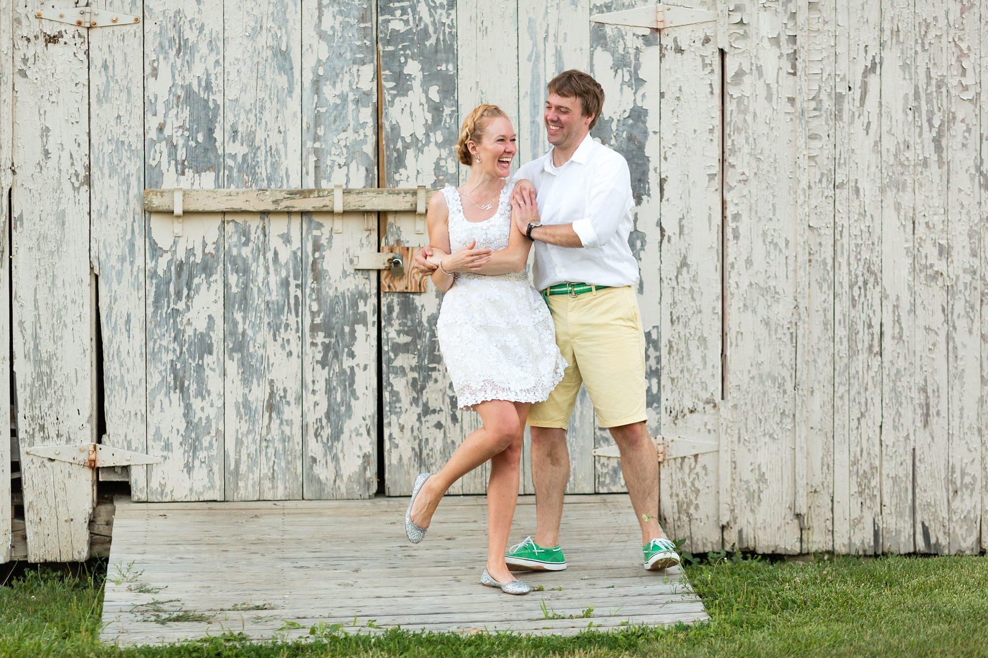 Bride and groom dance in front of shed at Ft. Wayne Indiana Wedding
