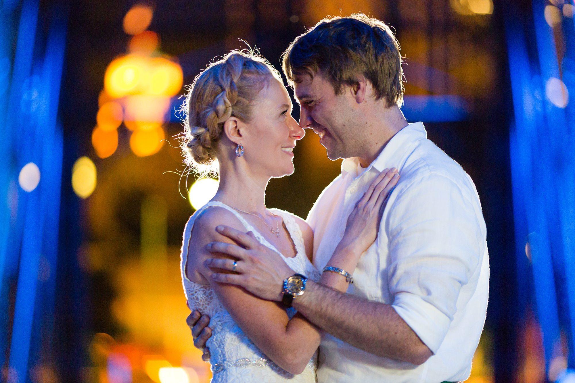 Night time couples portraits at Ft. Wayne Indiana Wedding