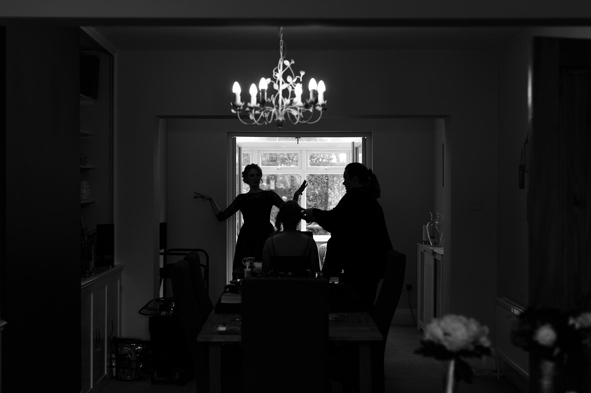 Silhouette photograph of bride preparation near York