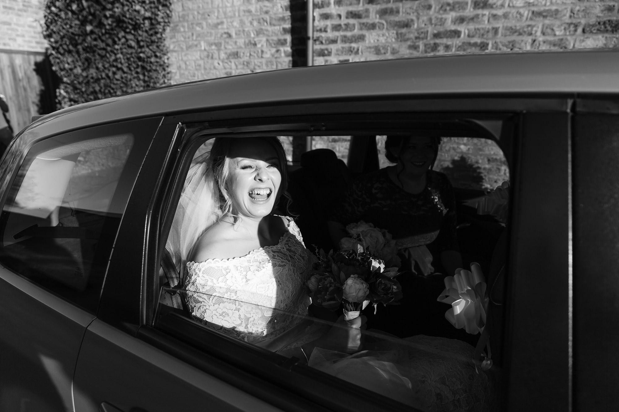 Bride arriving at The Normans Wedding Venue in York