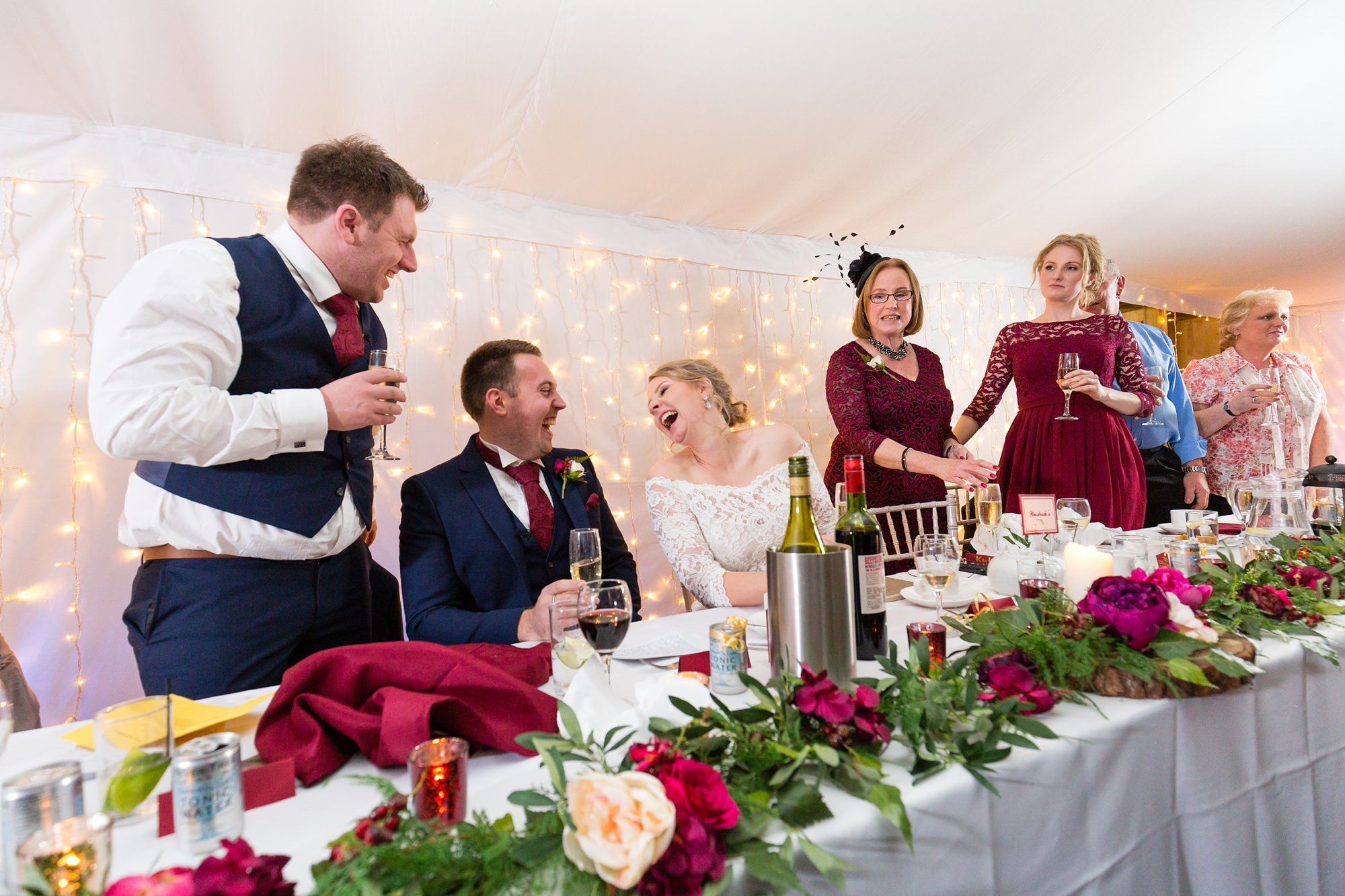 Bride with big laugh durng speeches at The Normans in York