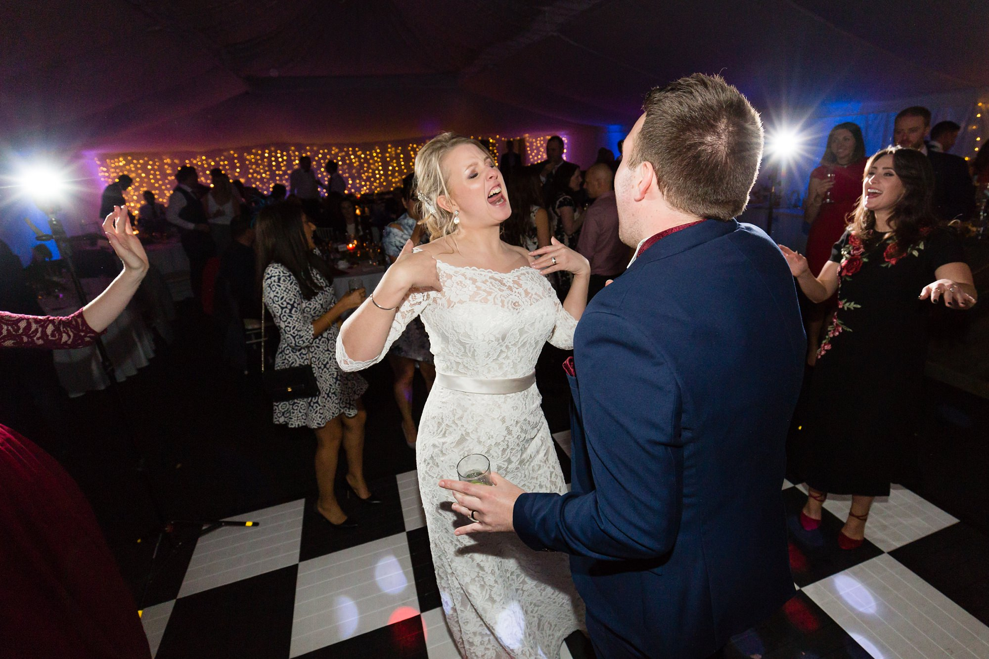 Bride & Groom dancing at wedding at The Normans in York