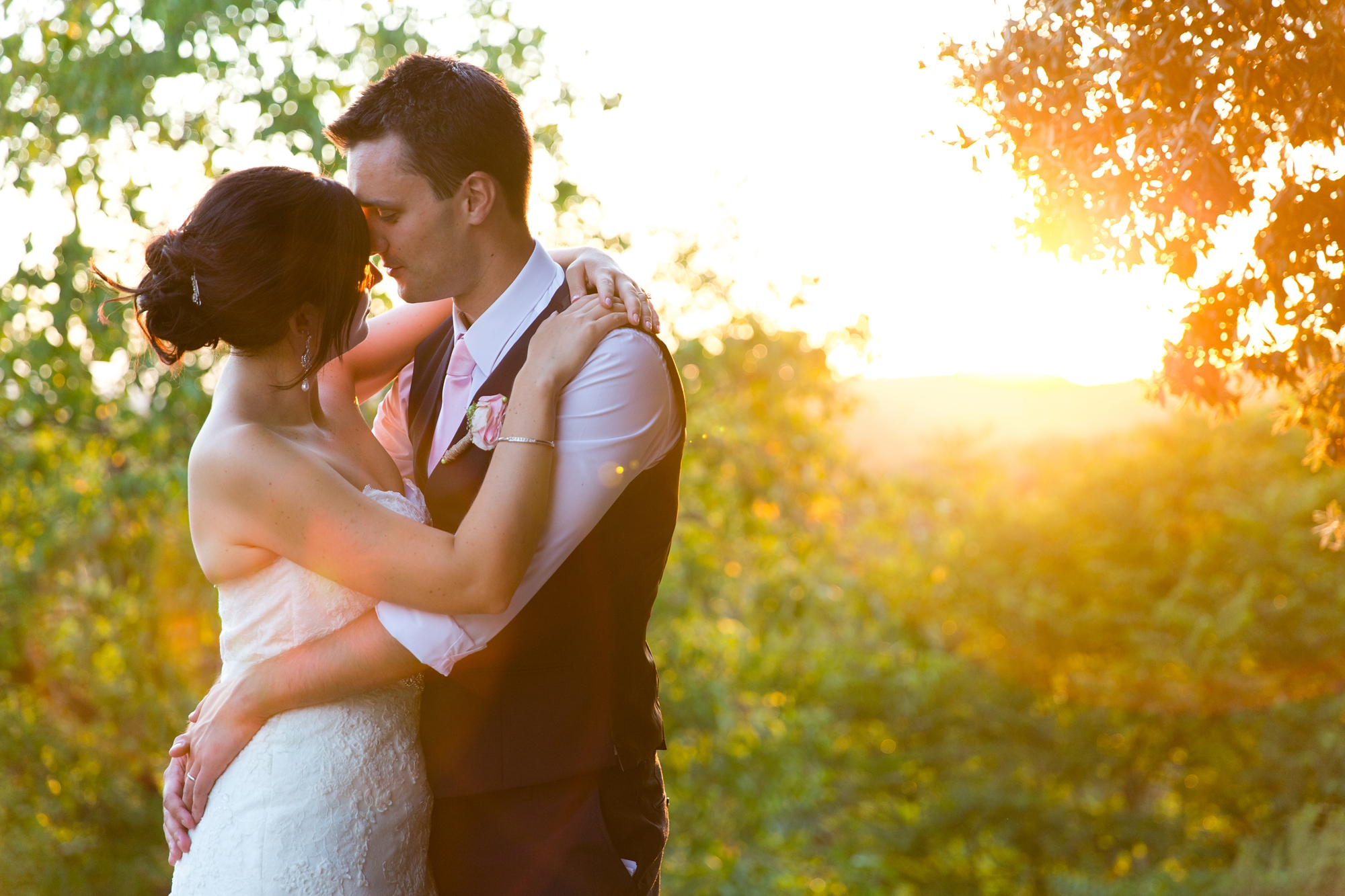 Villa Catignano Siena Wedding Photography bride and groom in sunset