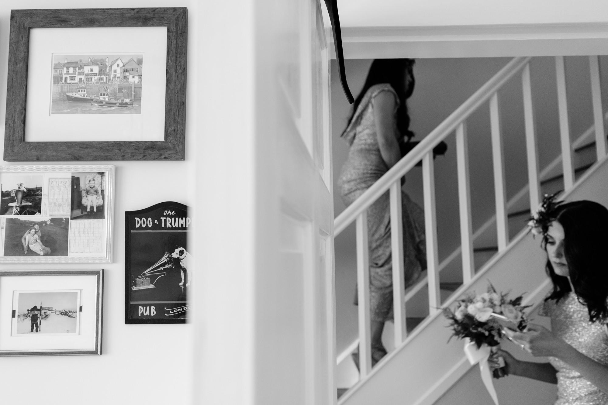 Villa farm wedding photography bridesmaids walk up stairs
