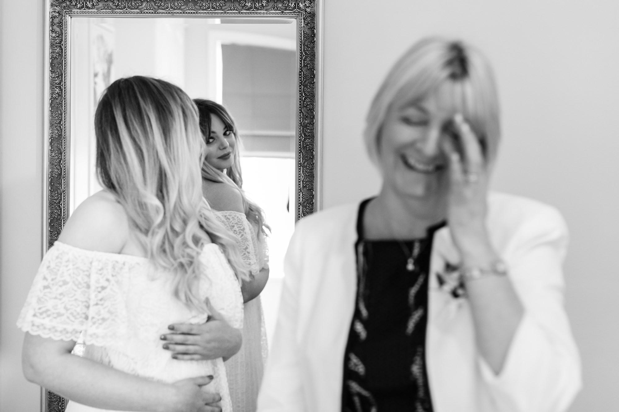 Villa farm wedding photography bride looks in mirror