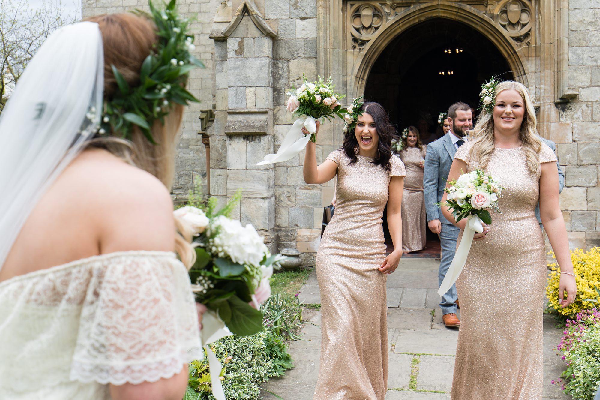 Villa farm wedding photography bridesmaid smiles documentary