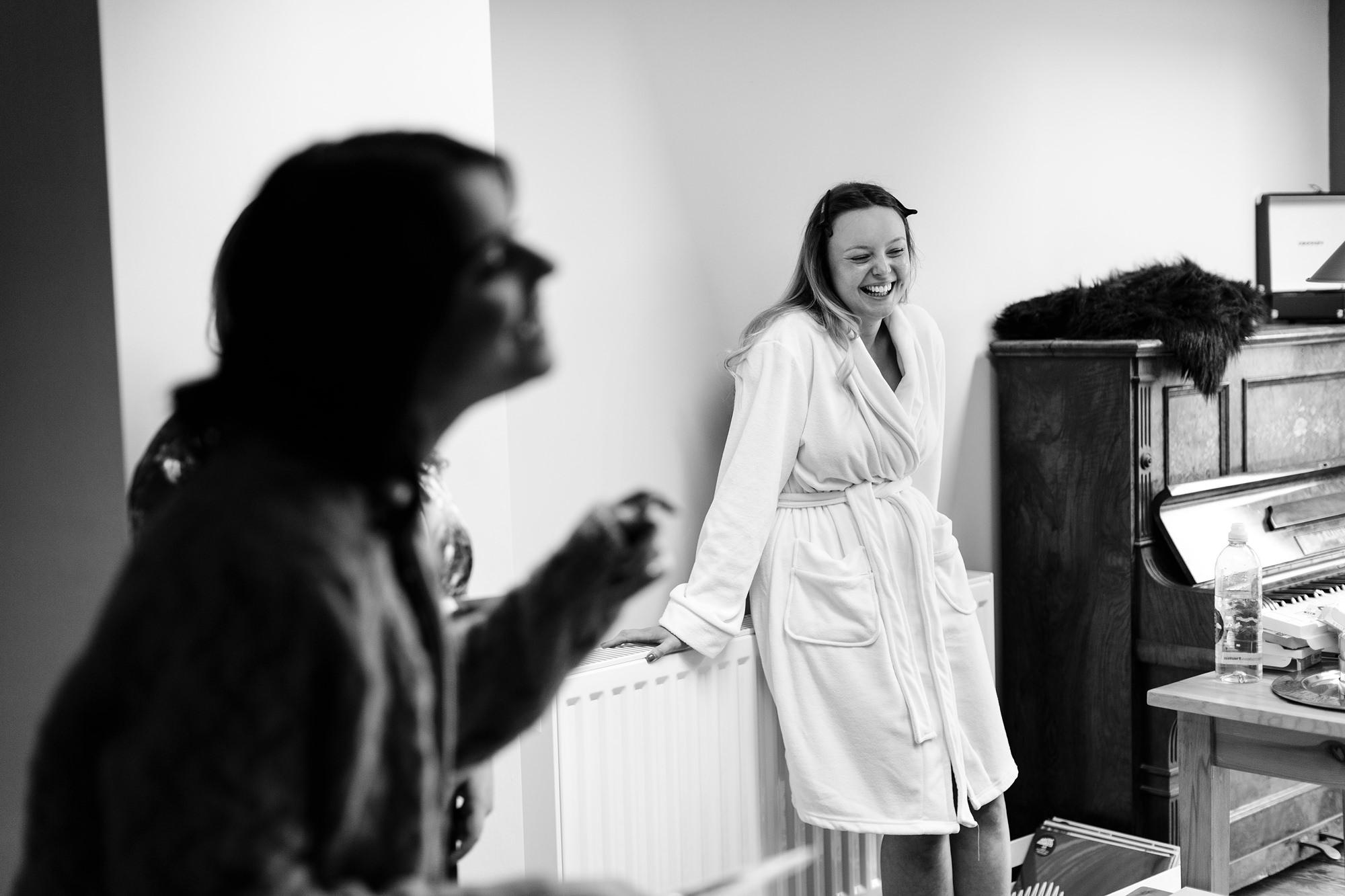 Villa farm wedding photography bride prep laughing