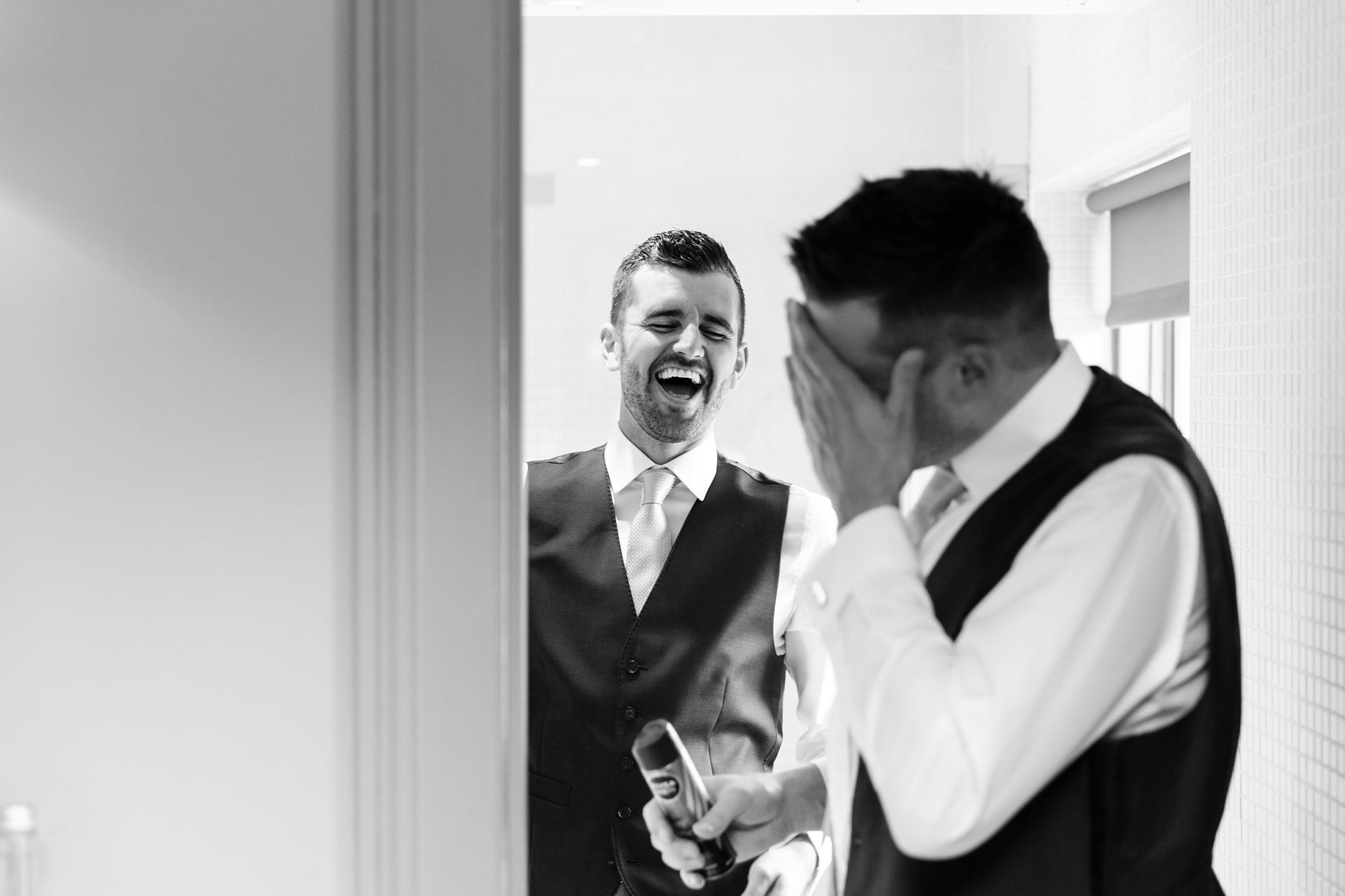 York & Albany Wedding Photography bestman laughing