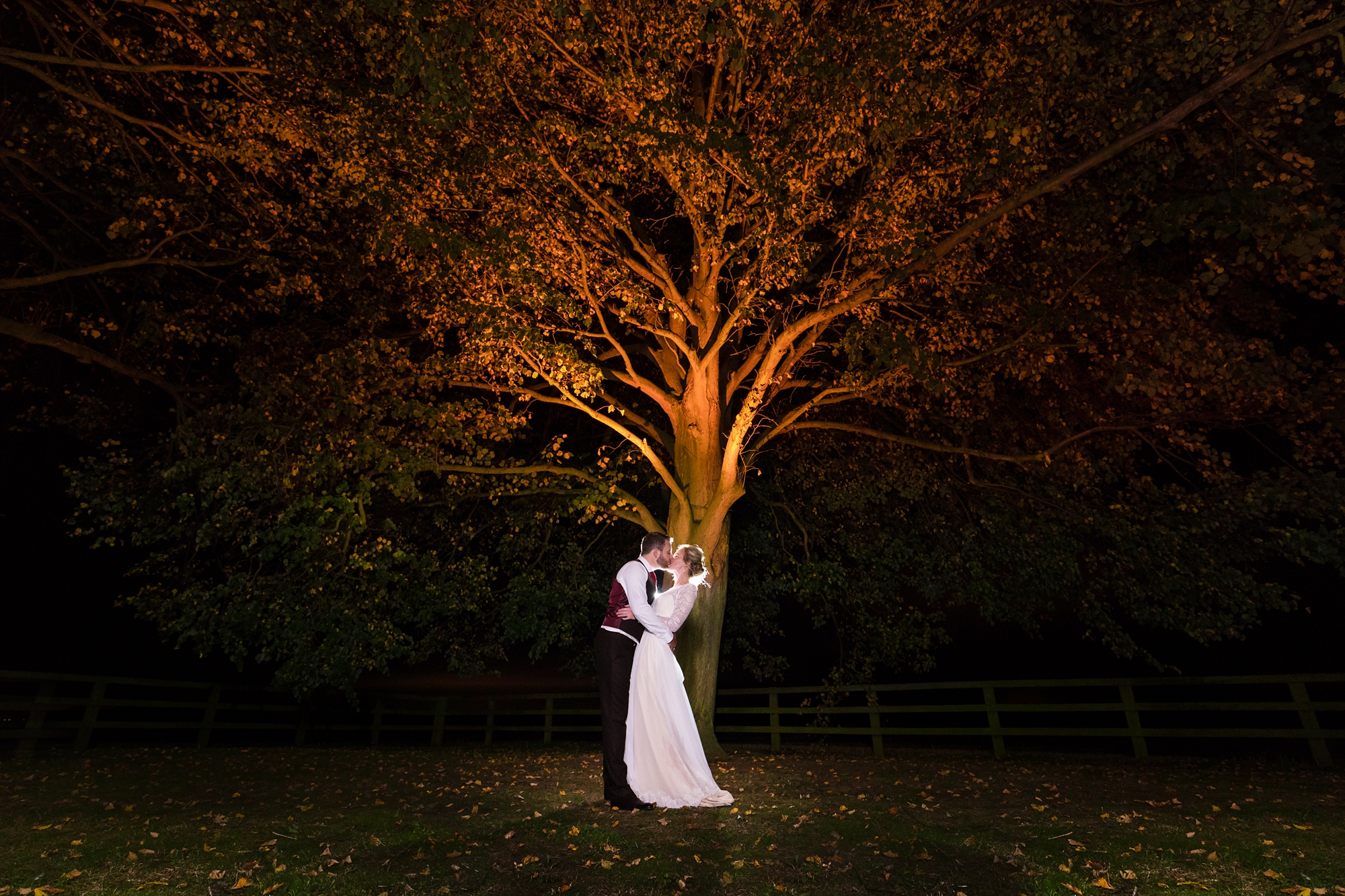 Bride and groom kiss under tree lit by