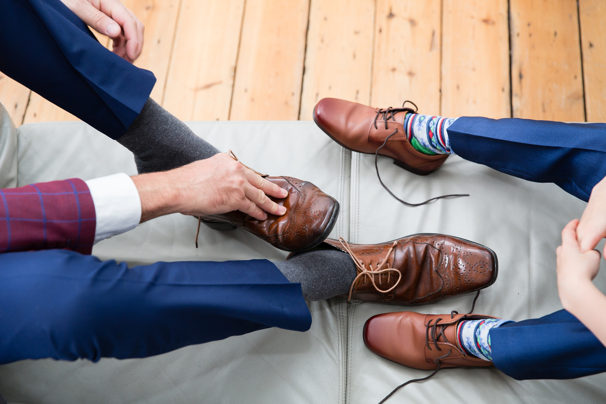 York wedding photography groom prep leather shoes