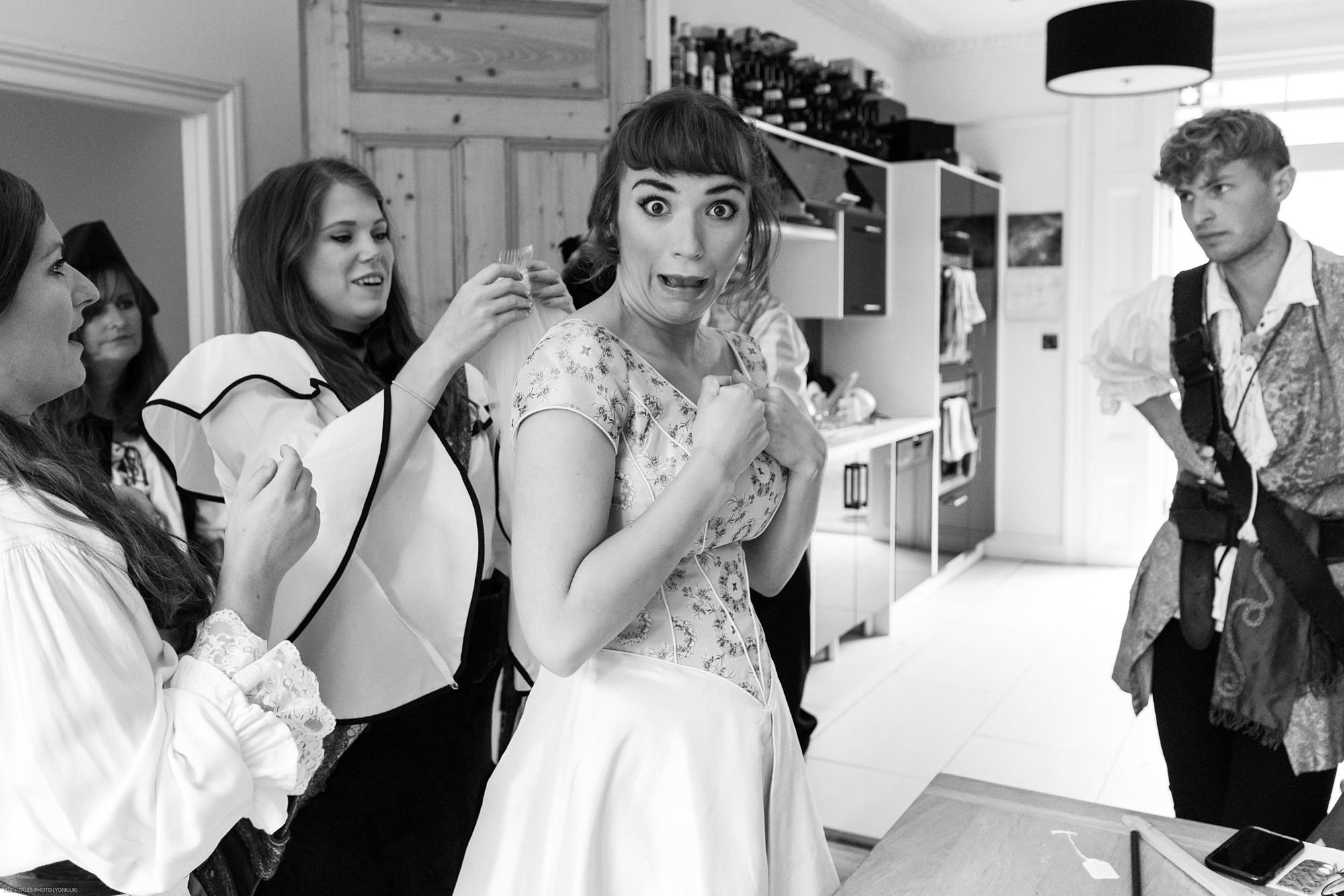 York wedding photography bride making silly face getting ready