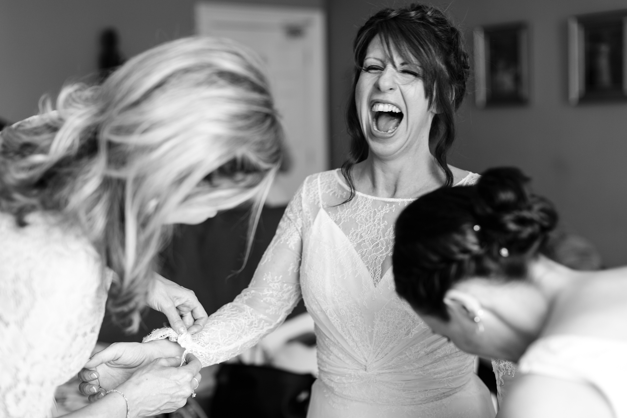 Best york wedding photography bride laughing
