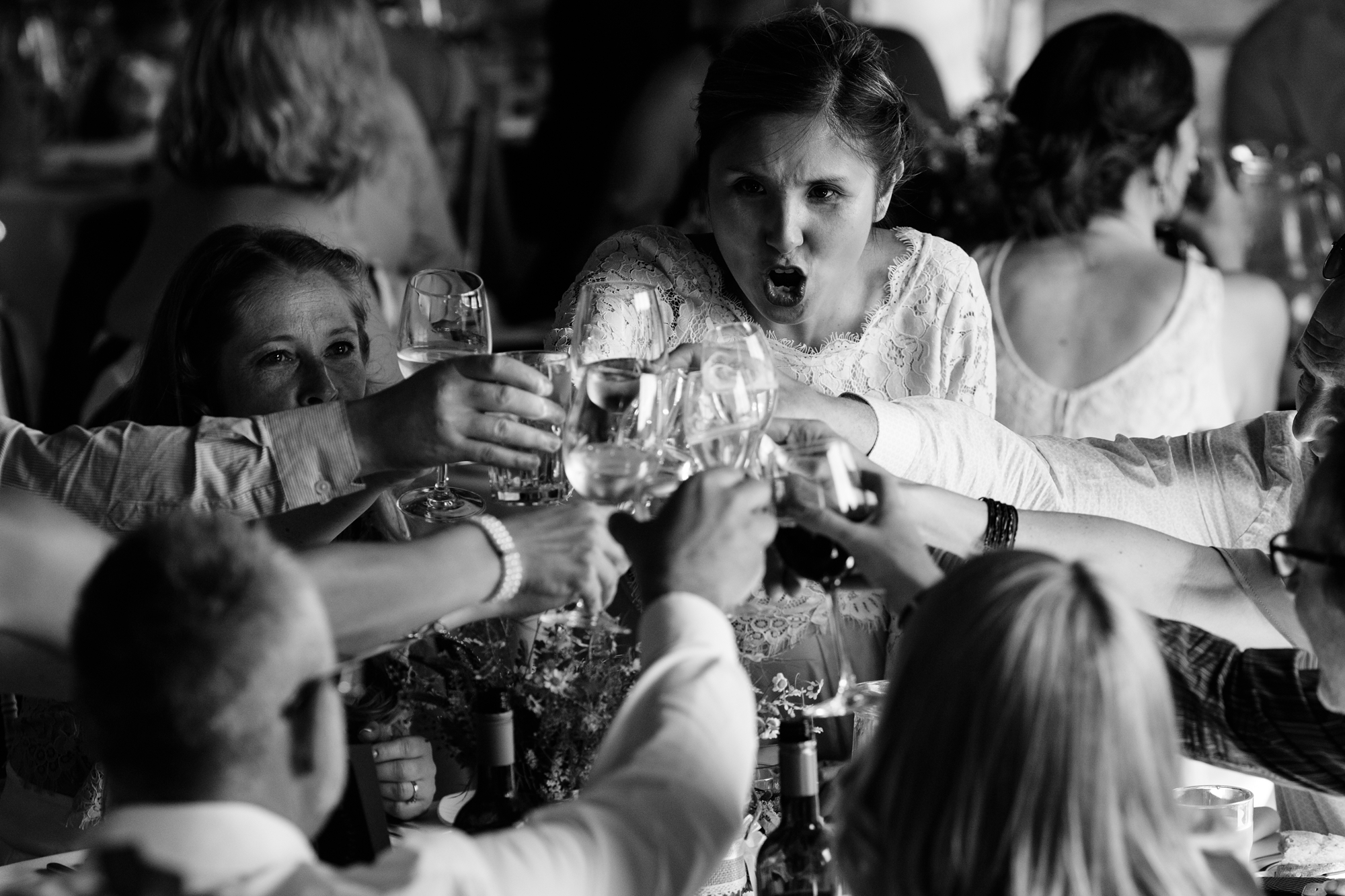 Guest drinking at doing shots york wedding photography