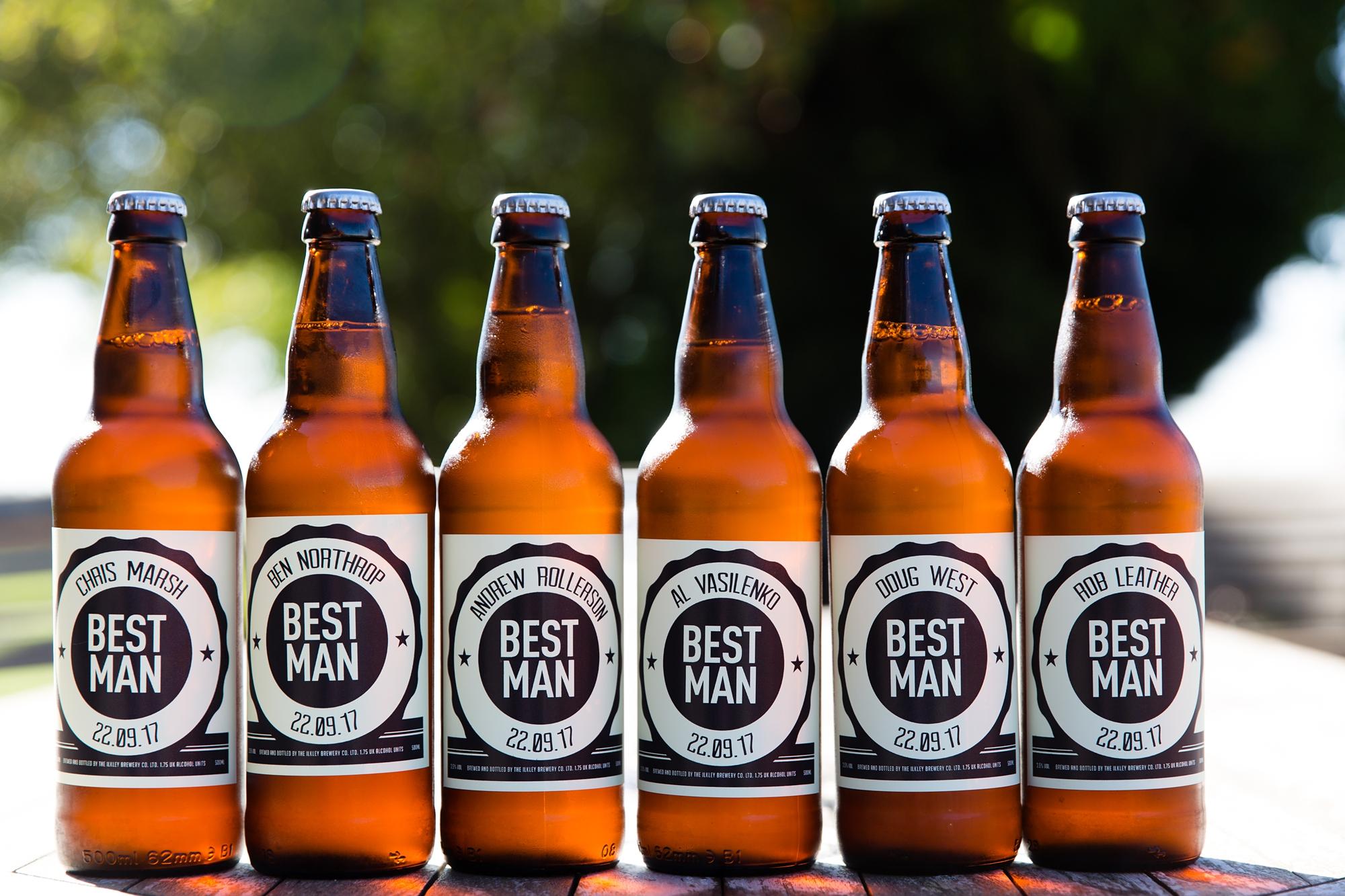 York Wedding Photography at Barmbyfield Barns beer bottles