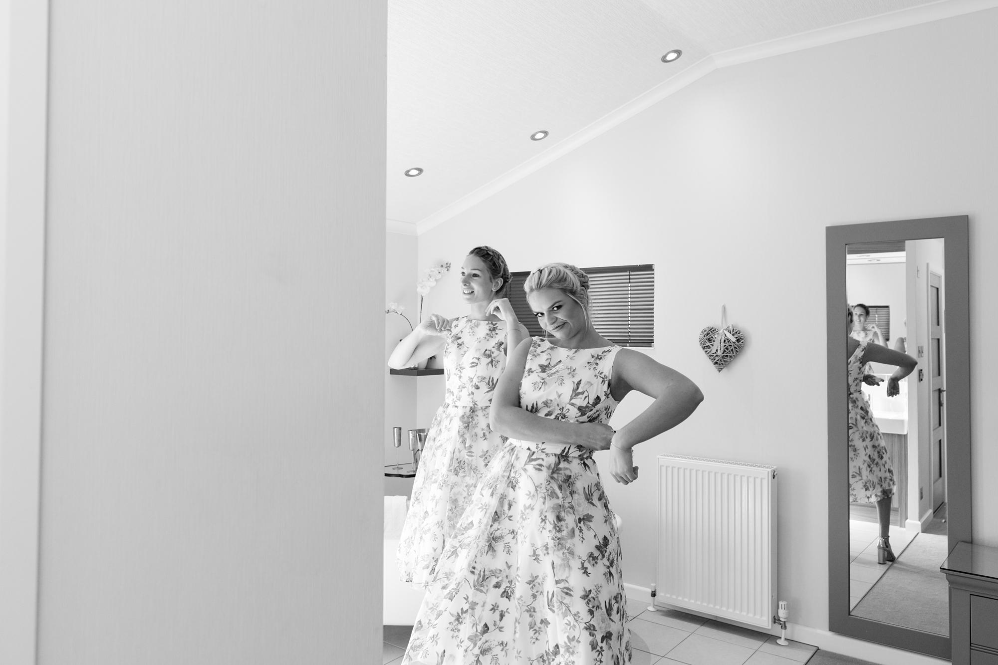York Wedding Photography at Barmbyfield Barns bridesmaid being funny