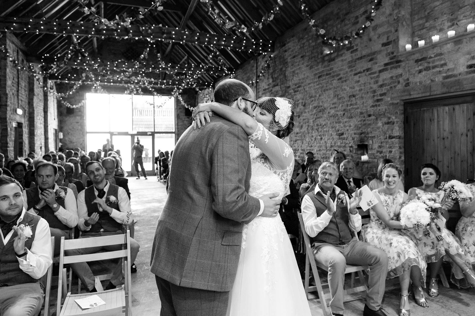 York Wedding Photography at Barmbyfield Barns Frist Kiss